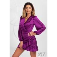 Rochie mini din satin culoare violet cu decolteu petrecut si volanase