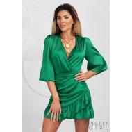 Rochie mini din satin culoare verde cu decolteu petrecut si volanase