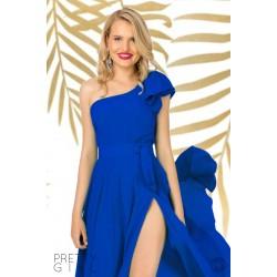 Top dama albastru cu volan pe un umar