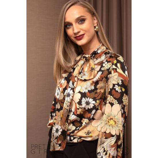 Bluza dama cu imprimeu floral si guler tip esarfa
