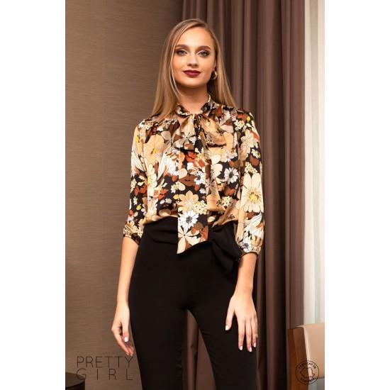 Bluză dama cu imprimeu floral si guler tip esarfa