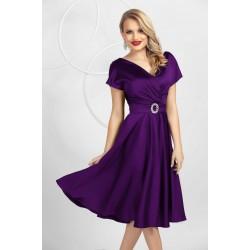 Rochie eleganta mov in clos din tafta elastica