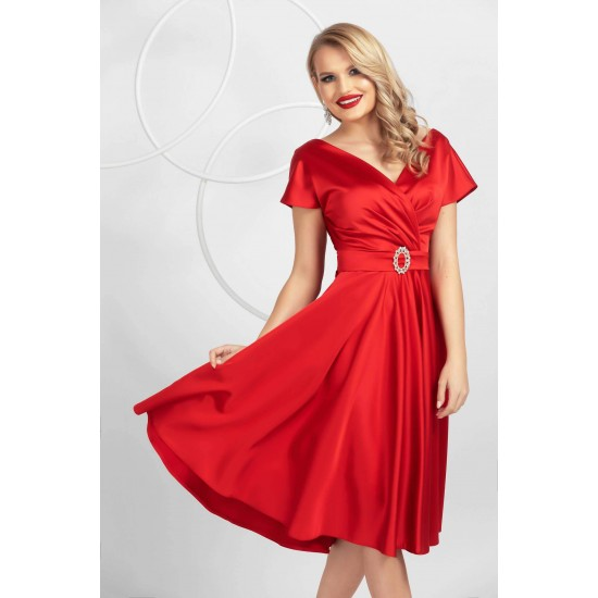 Rochie eleganta rosie in clos din tafta elastica