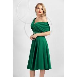 Rochie eleganta verde in clos din tafta elastica