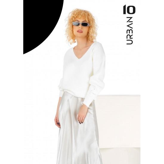 Pulover femei din tricot cu anchior culoare alb