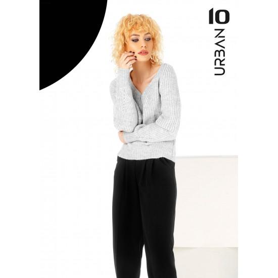 Pulover femei din tricot cu anchior culoare gri