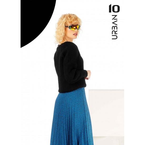 Pulover femei din tricot cu anchior culoare negru