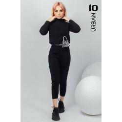 Compleu femei negru din tricot cu pantaloni treisfert