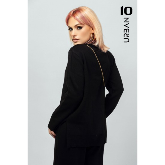 Compleu dama URBAN10 din tricot negru