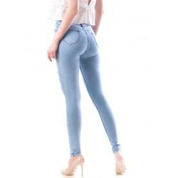 Blugi dama skinny cu rupturi culoare bleu