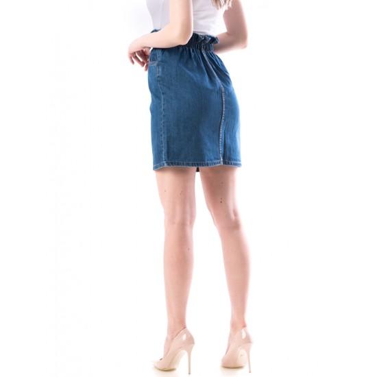 Fusta dama denim cu elastic in talie culoare bleumarin