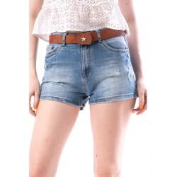 Pantaloni scurti dama din denim cu rupturi culoare bleumarin