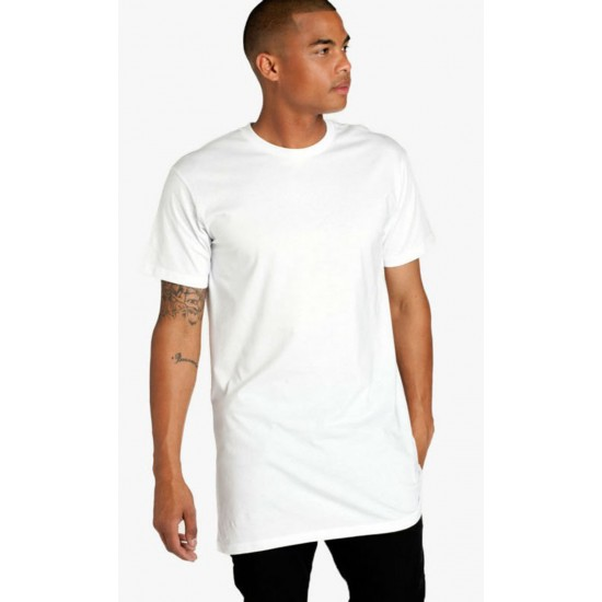 Tricou barbati lung casual yoozze slimfit culoare alb