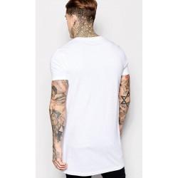 Tricou barbati spate lung casual slimfit yoozze culoare alb