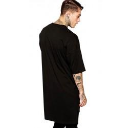 Tricou barbati spate lung casual slimfit yoozze culoare negru