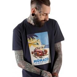 Tricou barbati imprimeu monaco culoare albastru