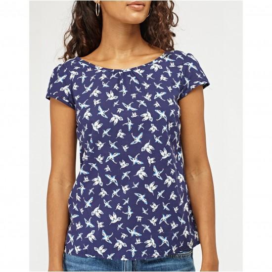 Tricou dama navy bird print bleumarin