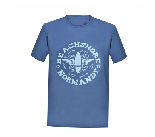 Tricou barbati Cotton Printed, culoare albastru