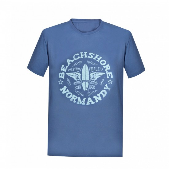 Tricou barbati cotton printed culoare albastru