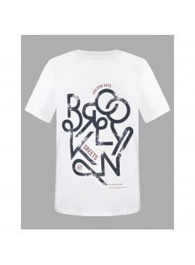 Tricou barbati Cotton Printed, culoare alb