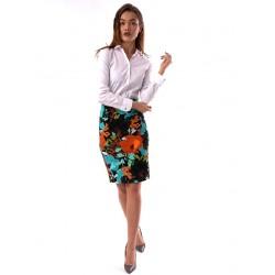 Fusta dama office cu imprimeu turcoaz flower