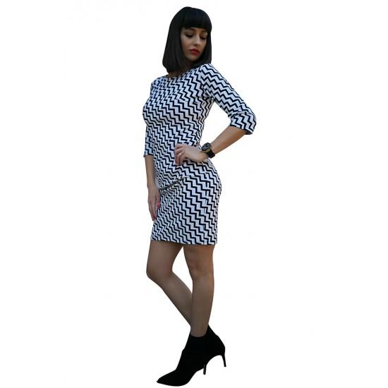 Rochie dama verticallines cu imprimeu culoare alba
