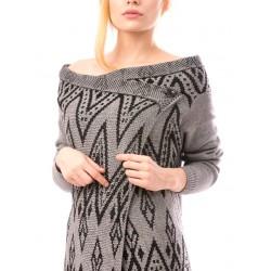 Cardigan femei casual aztecon gri-negru