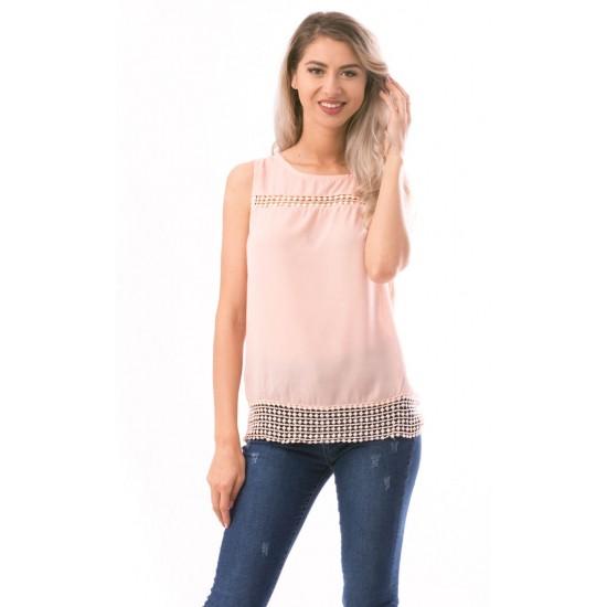 Bluza dama fara maneca beautynest culoare roz pal
