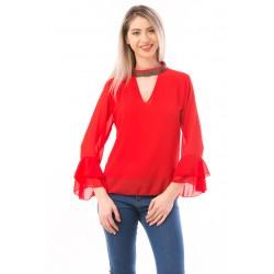 Bluza dama din voal shineneck culoare rosu