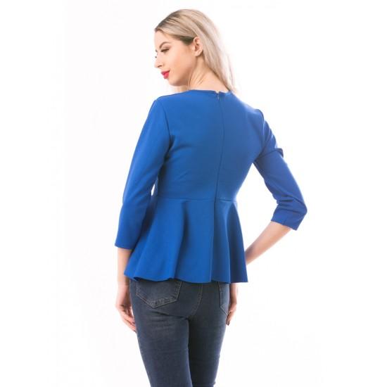 Bluza dama royalpearl albastru accesorizata cu perlute