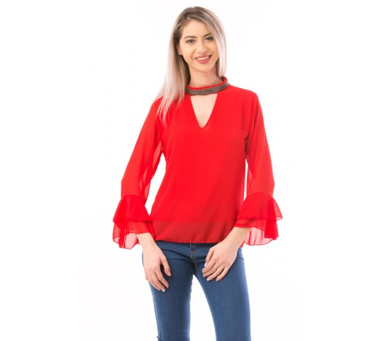 Bluza Dama ShineNeck Rosu