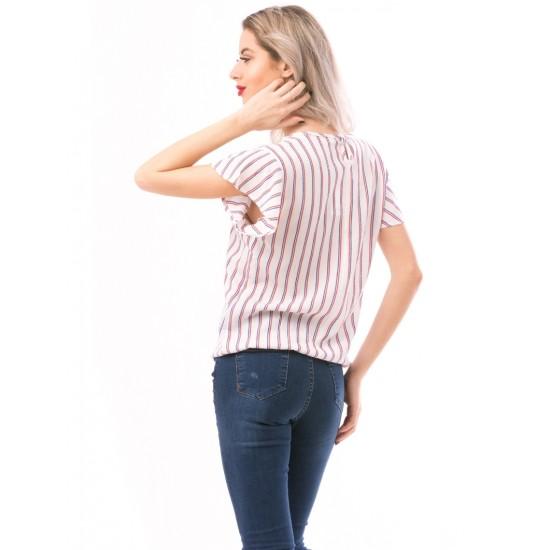 Tricou dama pettitcoat alb-rosu-albastru